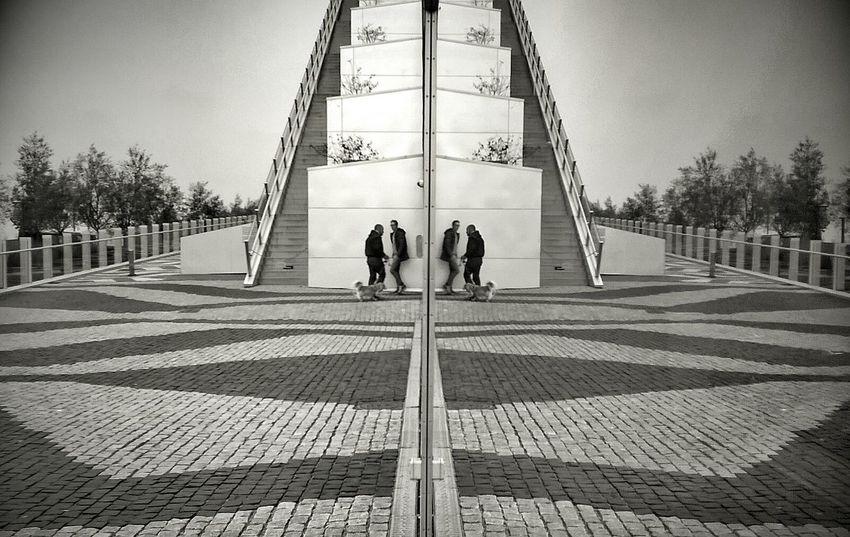 Encounter Streetphoto_bw Blackandwhite Monochrome Urban Geometry Reflection_collection Urban Design