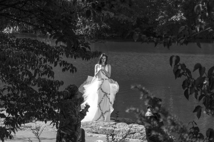 Tree Full Length Day Nature Sea Tranquility Woman Wedding