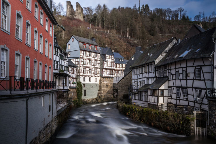 Monschau, Germany Monschau Monschau Eifel Germany Germany Long Exposure Tree Water Plant No People Motion Day Outdoors Architecture Built Structure Building Exterior Building House Residential District Sky City Transportation Road Blurred Motion