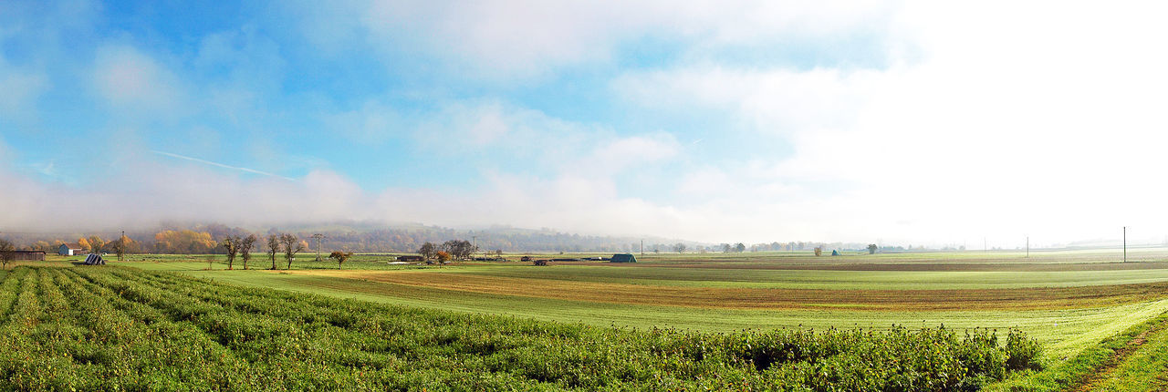 Great light on a spring day Agriculture Blue Bright Cloud Cloud - Sky Crop  Distant Field Fuldatal Green Color Fog Landscape Scenics Springtime Tranquil Scene Wide