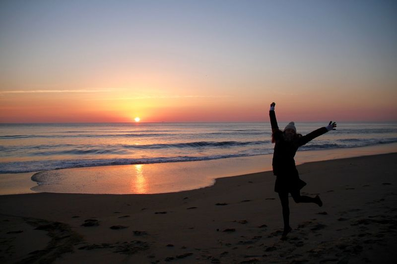 Beach Time Happiness Happy USA Virginia Beach Beach Beachphotography Beauty In Nature Energetic Full Length Horizon Over Water Jumping Nature Ocean One Person Scenics Sea Silhouette Sunrise Sunset Tranquil Scene Vacations Water Wave Young Women Lost In The Landscape Done That.