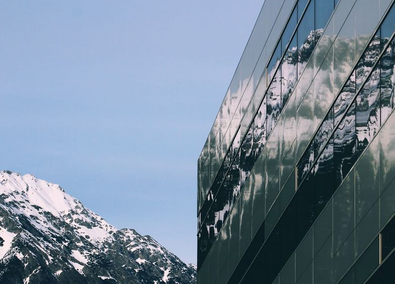 Beauty In Nature Cold Temperature Low Angle View Mountain Mountain View Mountains And Sky No People Outdoors Reflection Reflection_collection Reflections Scenics Sky Snow Window Windows Winter Perspectives On Nature
