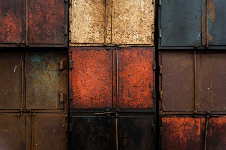 Full Frame Shot Of Closed Metallic Doors