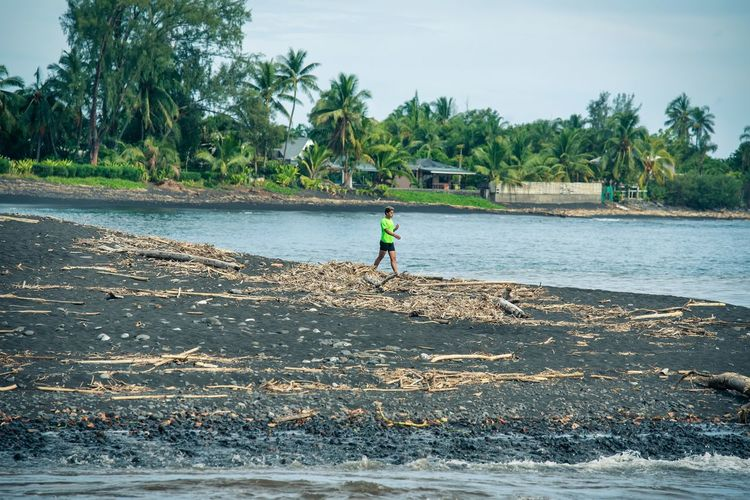 Man walking on shore against trees