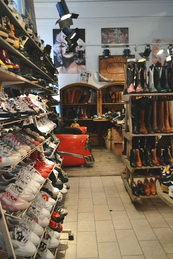 Shoe Shoes Shoe Shop Shoe Store Shop Store Shoestore Crosses Gumshoes Trainers Boots Sofa Divan  Retro Retro Style Retro Car Shelf Shelves Shelving Stockholm Sweden First Eyeem Photo