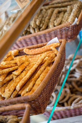 Cheese Breadsticks Bakery Basket Breadstick Brown Close-up Container Focus On Foreground Food Food And Drink For Sale Freshness High Angle View Indoors  Market No People Ready-to-eat Retail  Snack