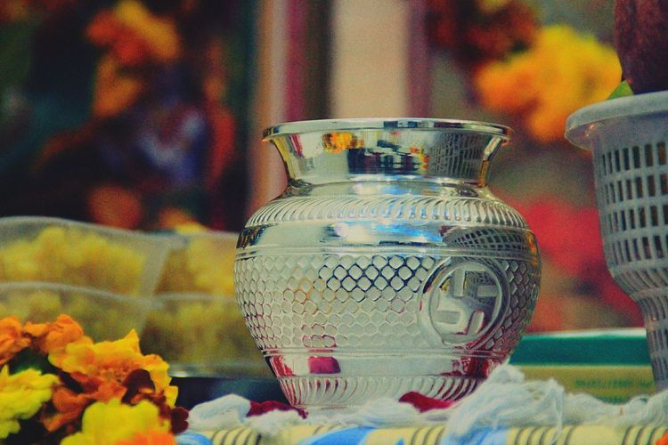 Traditional Culture Hawan Close-up No People Poojan Swastik Housewarming Happy :) Home Visit Silver - Metal