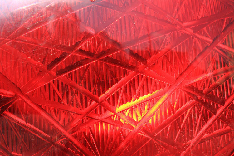 Full frame shot of red illuminated signal light