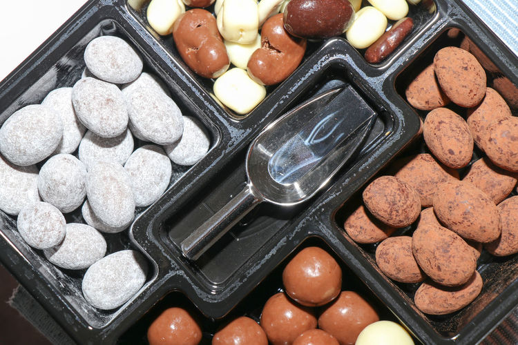 High angle view of dessert in container