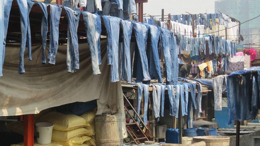 the blues of the blue jeans... Bombay Dhobi Ghat, Mumbai Mahalaxmi Dhobi Ghat Washing Clothes ... Bombay Laverie Open Air Washers