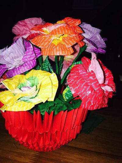 Flowers All Recycled Reuse Candy Wrapper Paper Paper Folding Vase ArtWork Use Reuse Green Earth Lets Make It Happpen