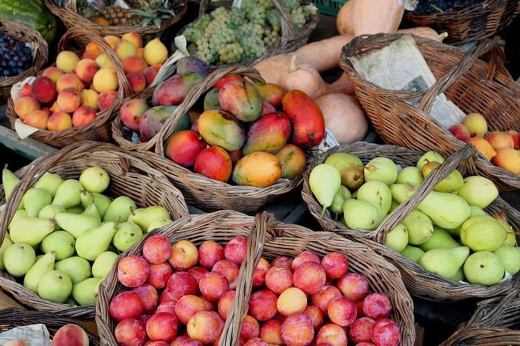 High angle view of fruits for sale at market stall