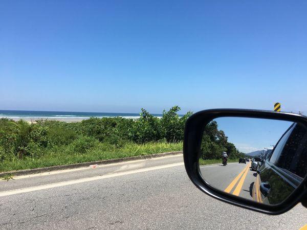 Nofilter Road Clear Sky Nature No People Blue Sea Vehicle Mirror Praia Beach