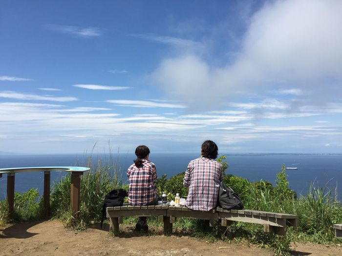 海を見る二人 Two people who see a sea. Couple Sea Sea View Tokyo Bay Mt. Nokogiri Chiba Japan