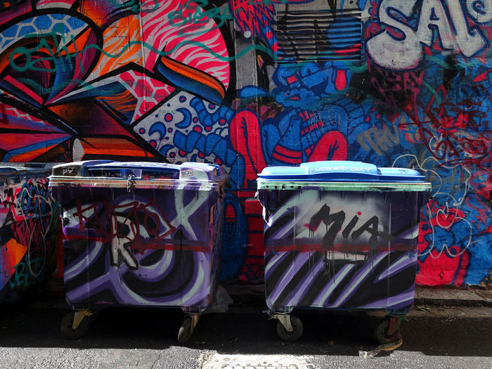 Melbourne Street Graffiti Graffiti Day Garbage Bin No People Multi Colored Architecture Street Outdoors Creativity City Built Structure Wall - Building Feature Art And Craft Container Recycling Bin Drum - Percussion Instrument Building Exterior Large Group Of Objects Nature Pattern