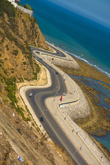 Highways&Freeways Sea Transportation Water Road Car Scenics - Nature Mode Of Transportation Curve Traveling Coastline