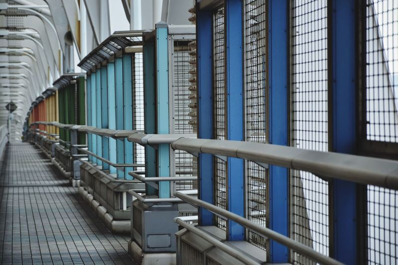 Pattern Steps And Staircases Full Frame Sunlight In A Row Safety Building Blue Outdoors Security Protection Staircase Steel