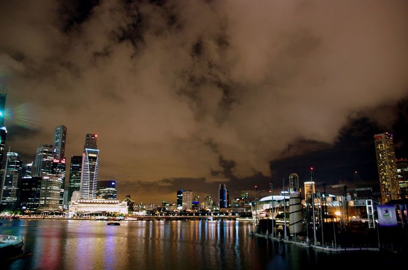 Singapore skyline illuminated at night