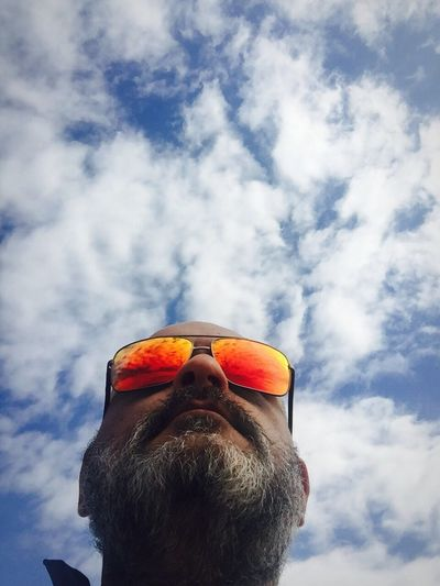 Sky One Person Cloud - Sky Men Low Angle View Beard EyeEm Ready   Real People Lifestyles One Man Only Headshot Day Outdoors Nature Only Men Go Higher
