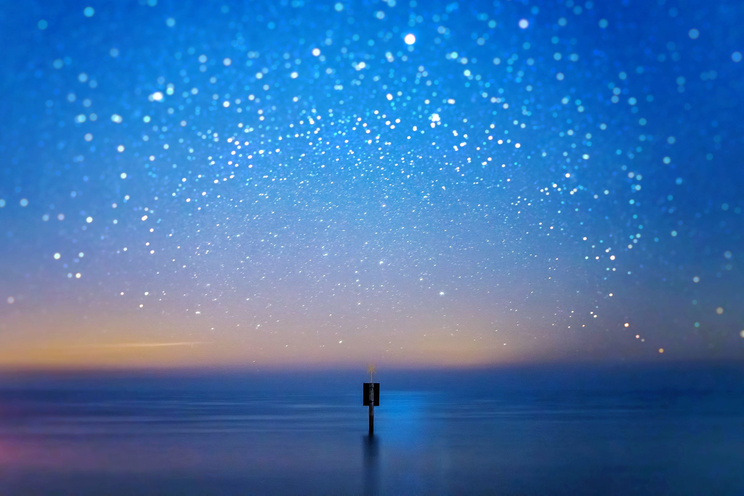 sky, sea, blue, night, silhouette, scenics, star field, nature, sunset, outdoors, beauty in nature, horizon over water, tranquil scene, constellation, astronomy, beach, star - space, water, people, space, galaxy