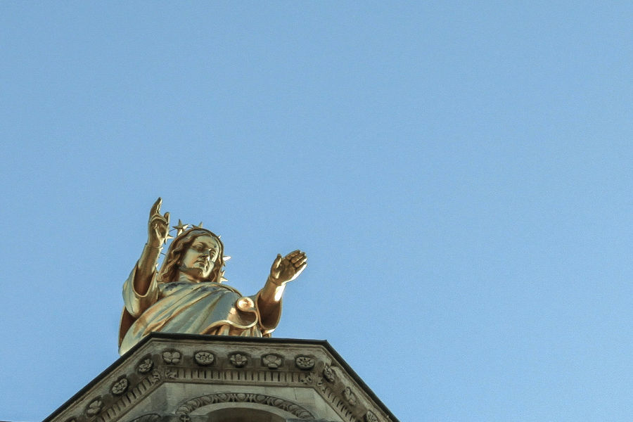 Animal Representation Art Art And Craft Avignon Blue Clear Sky Composition Copy Space Creativity Day History Human Representation Low Angle View Negative Space Ornate Outdoors Palais Des Papes Religion Religious Statues Sculpture Spirituality Statue
