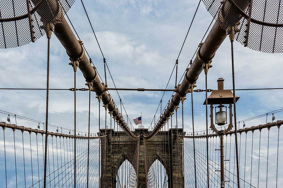 No People Cloud - Sky SkyNew York City Bridge - Man Made Structure Suspension Bridge Brooklyn Brooklyn Bridge  Brooklyn Bridge / New York Brooklynnyc New York Manhattan New York City Life New York, New York New York City Photos Minimalist Architecture