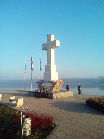 White White And Blue White Crosses Vukovar Croatia