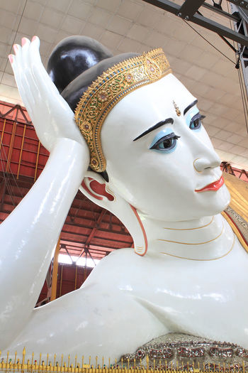 Myanma BIG Chaukhtatgyi Buddha, Yangon The Giant Yangon Yangon, Myanmar Architecture Art And Craft Belief Building Built Structure Close-up Creativity Day Human Representation Idol Indoors  Male Likeness No People Religion Representation Sculpture Spirituality Statue White Color