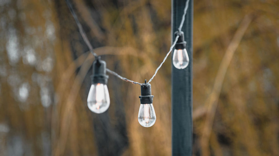 Close-up of light bulb hanging on rope