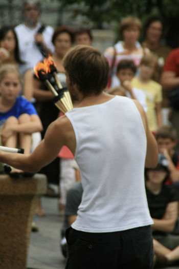 Audience Street Show Fire One Man Show Group Of People Show Summer Young Man Cheering Up