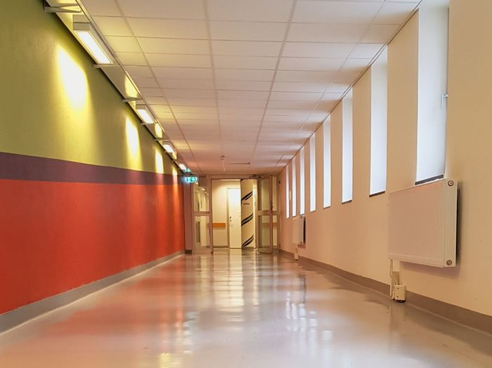 A hospital corridor Colors Green Color Redcolor  Factory Ceiling Architecture And Art Ceiling Light  Interior Light Fixture Hallway Architectural Design Recessed Light