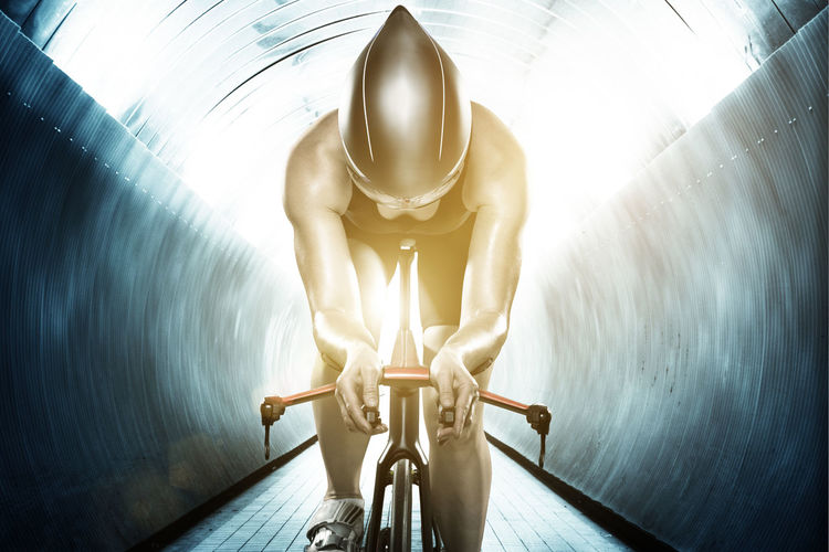 Low angle view of bicycle in tunnel