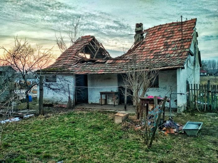 ruined building Ruined Rural Old Crashed Crash Abandoned Ghost Roof Down Fall Felt Grass Cloud Door Window Chimney Architecture Built Structure Building Exterior House Grass Sky Outdoors Cloud - Sky