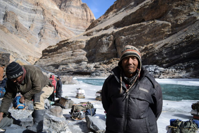 Ladakhi Porters working during Chadar Trek Ladakhi Portrait Local Helper Trekker Trekking Hiker Hiking Extreme Weather Frozen Frozen Nature Frozen Water Frozen River The Tourist Zanskar River Porter Helpers Beautiful People Mountains Ladakh Chadar Trek 2016 Handsome Posing Backpack Mountain Climbing Frozen Lake Ice Crystal