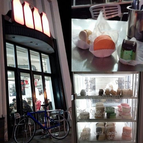 Yes, we biked to #MILK #Fixedgear #unknownbikes #leaderbikes #thaitea #macaron #icecream #cold #worth Icecream Macaron Cold Milk Fixedgear Worth Thaitea Unknownbikes Leaderbikes