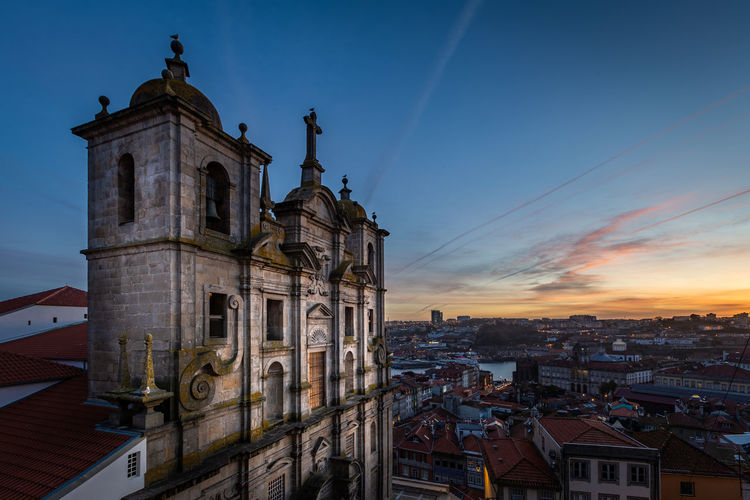 Grilos Church at Porto, Portugal Architecture Built Structure Building Exterior Building Sky City Religion Place Of Worship Belief Spirituality Sunset Cityscape No People Travel Destinations Outdoors Porto Portugal Travel City Cityscape Tourism Tourist Attraction  Tourist Destination