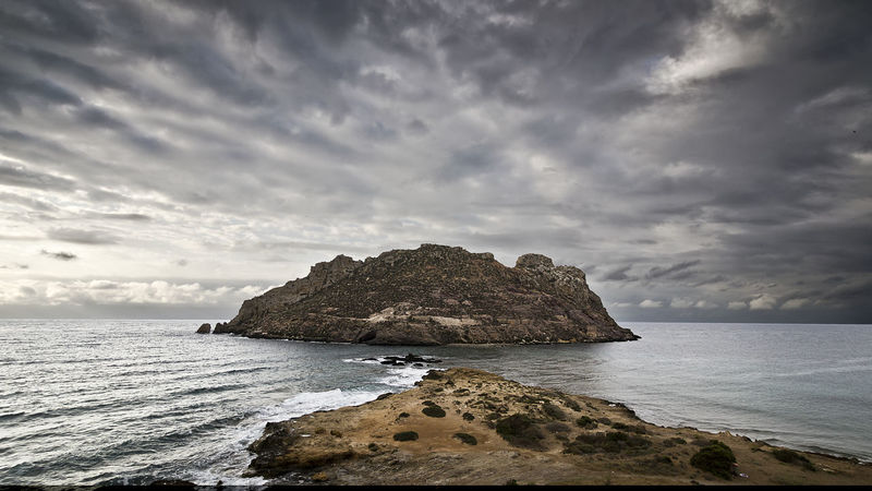 Aguilas Beauty In Nature Cloud - Sky Horizon Over Water Isla Isla Del Fraile Murcia Napatu Nature No People Rock - Object Sea Sky Water