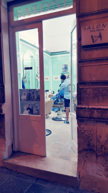 Door Window Adults Only One Person Adult Indoors  One Woman Only Only Women Doorway Full Length People Day Domestic Life Women Young Adult Architecture Barbershop Streetphotography Taking Photos Sicily Barber Wet Shave Wetshaving