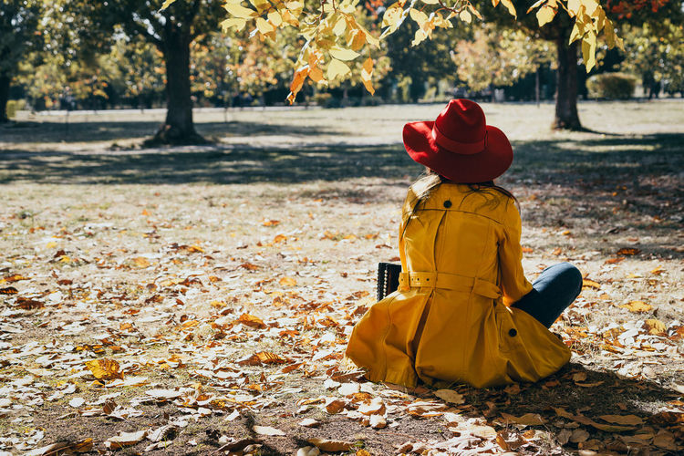 Rear View Of Woman Sitting On Ground At Park During Autumn