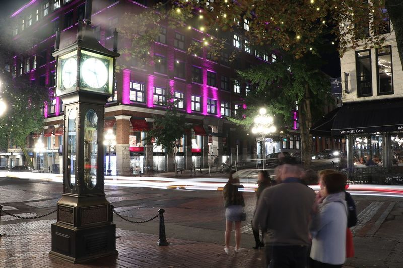 Steamclock City Real People Street Illuminated Building Exterior Architecture Night