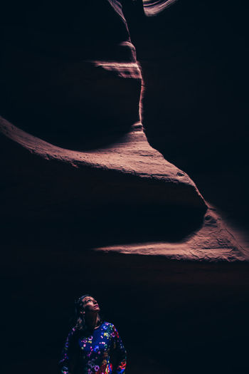 Adult Adults Only Antelope Canyon Beauty In Nature Nature Night One Person One Woman Only One Young Woman Only Only Women Outdoors People Real People Sky Standing Travel Destinations USAtrip Young Adult Young Women Perspectives On Nature The Traveler - 2018 EyeEm Awards