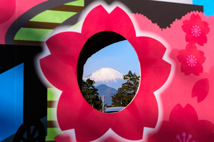 Plant Close-up Shape Nature No People Red Geometric Shape Day Architecture Design Beauty In Nature Circle Outdoors Digital Composite Focus On Foreground Built Structure Reflection Sky Sunlight Mt.Fuji 観光地の顔を出すアレ