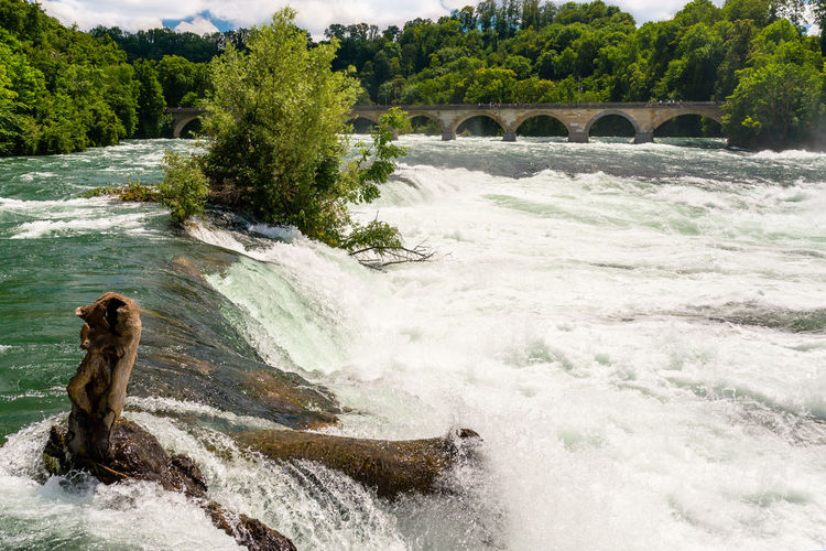 A beautiful waterfall on the river rhine in the city neuhausen am rheinfall in northern switzerland.