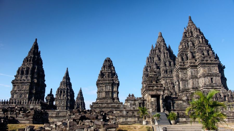 Prambanan temple Religion Built Structure Place Of Worship Belief Architecture Spirituality Building Outdoors Clear Sky Day No People Travel Blue Tourism Travel Destinations Sky Nature Building Exterior History The Past Capture Tomorrow