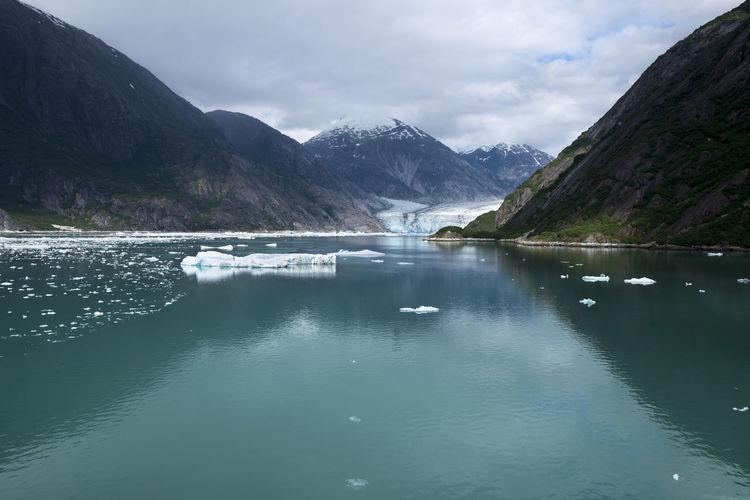 Panoramic view of a glacier in alaska