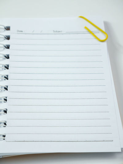 Blank Close-up Day Education Indoors  Lined Paper No People Note Pad Paper Spiral Notebook White Background