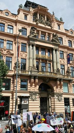 The Photojournalist - 2015 EyeEm Awards Demonstration in Prague Wenzelsplatz Historic Building Street Photography