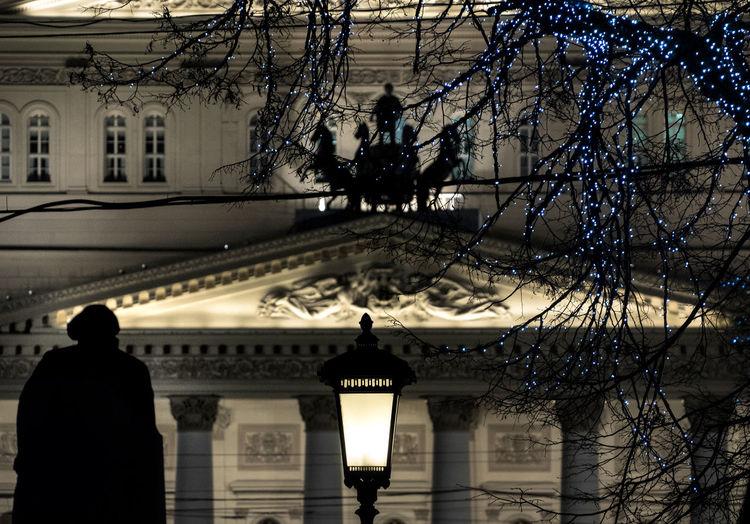 Bolshoi ballet theater at night