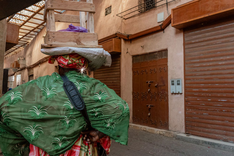 Marrakesh Marrakech Morroco Human Representation Women Costume Obscured Face One Person Real People Unrecognizable Person Clothing Culture African Local Market Souk Tourist Destination