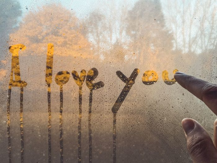 Cropped hand writing i love you text on wet window